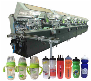 Cylindrical & Oval LDPE Bottle Muti Color Full Auto Screen Printing Machine