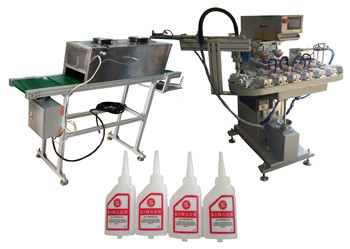 Four Color Pad Printing Machine For Lubricated Oil Oval Bottle With IR Drying Oven